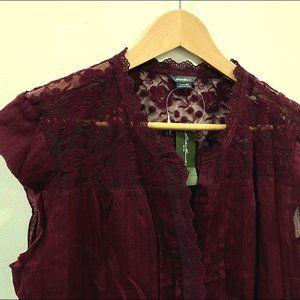 Eddie Bauer Lace Inset Cap Sleeve Button Up Blouse